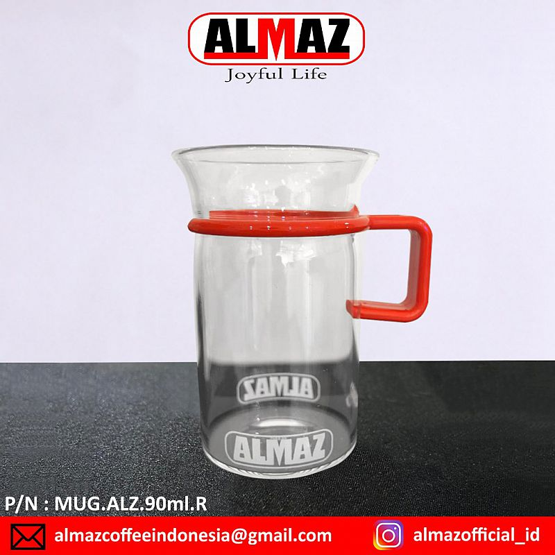 Almaz Mug Glass Handle Plastic 90 ml Cangkir Kopi